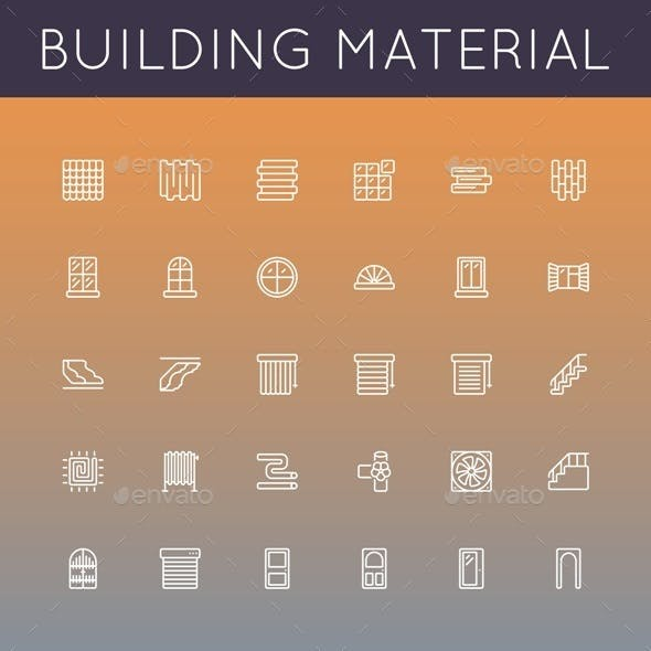 Vector Building Material Line Icons