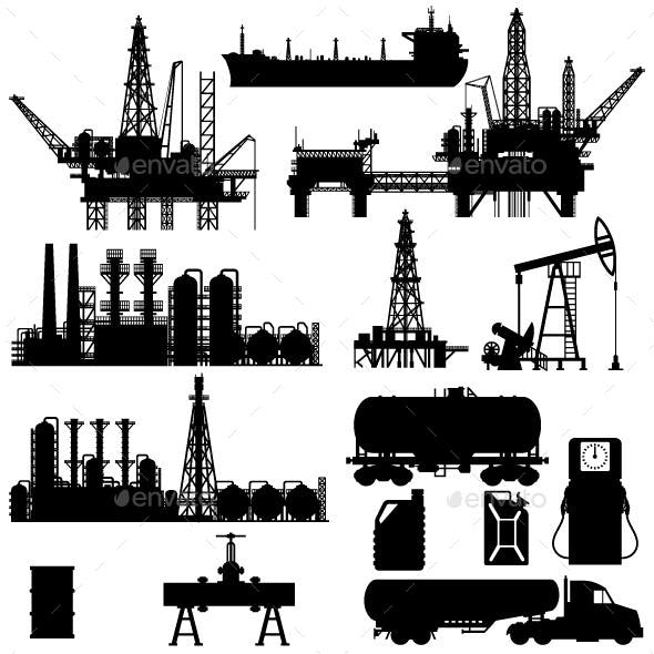 Silhouettes of Oil Idustry