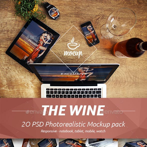 The Wine - 20 PSD Photorealistic Mockup Pack