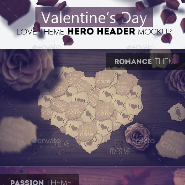 Valentine Day Love Theme Header Mockup
