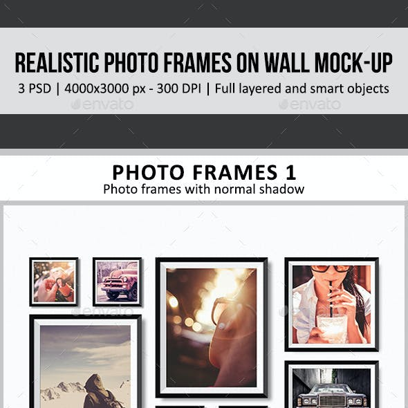 Realistic Photo Frames on Wall Mock-Up