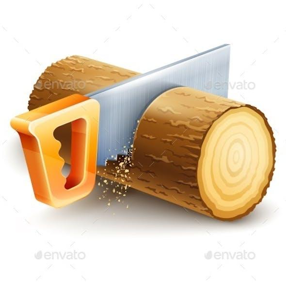 Manual Saw Cutting Wooden Timber