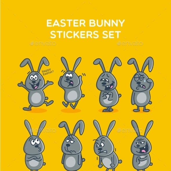 Easter Bunny Stickers Set