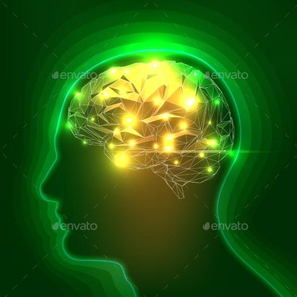 Abstract Human Head Silhouette with a Brain