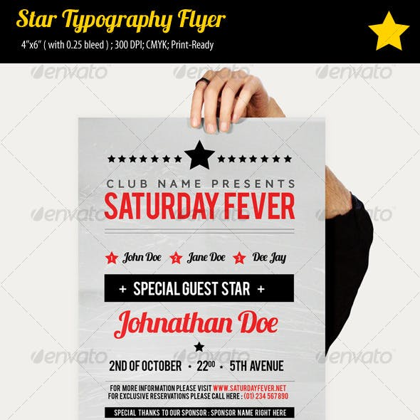 Star Typography Party Flyer