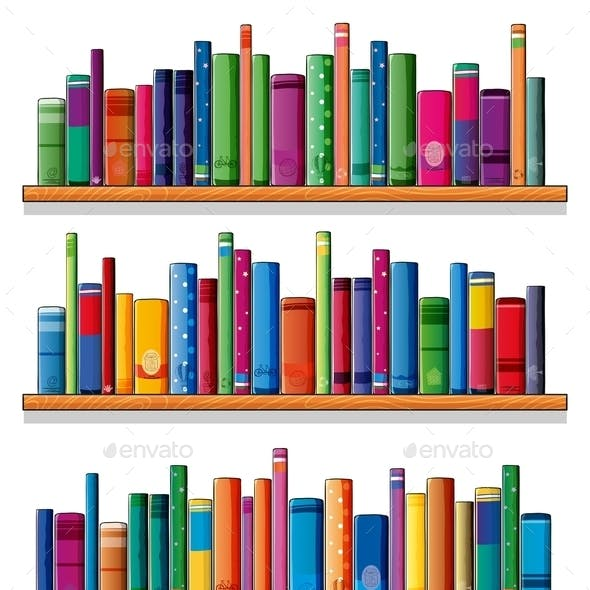 Wooden Shelves with Books