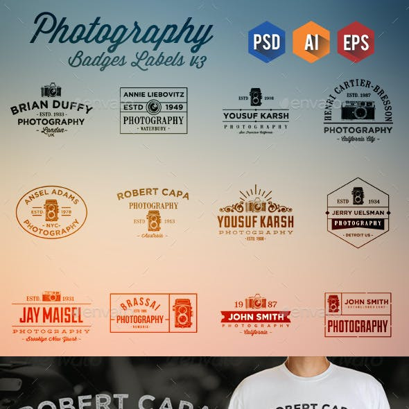12 Photography Badge Labels v4