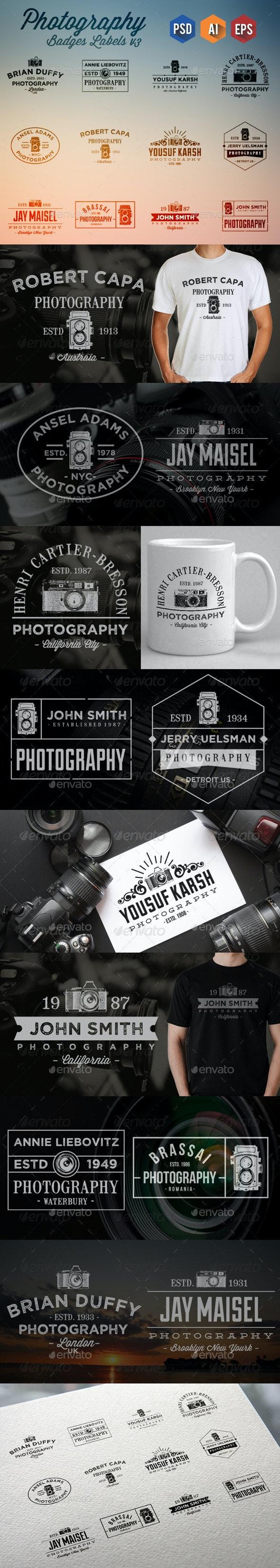 12 Photography Badge Labels v4 - Badges & Stickers Web Elements