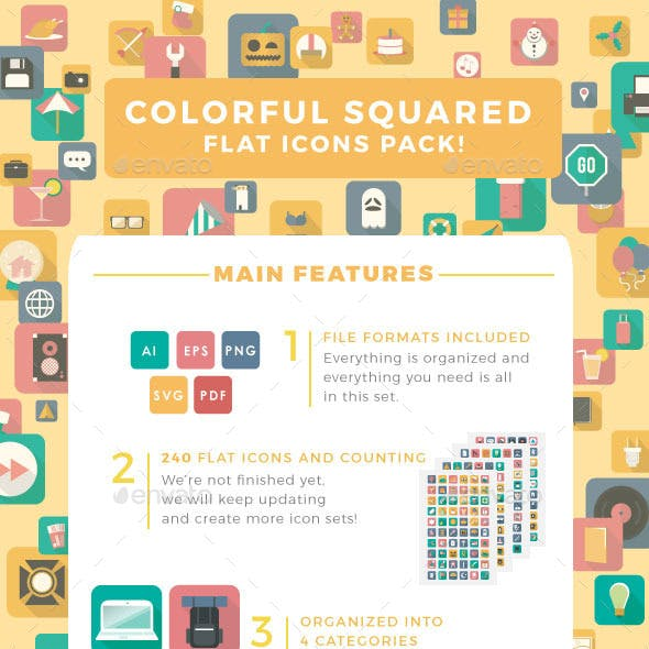 Colorful Squared Flat Icons