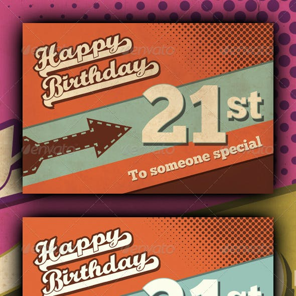 Retro Happy Birthday Card V1