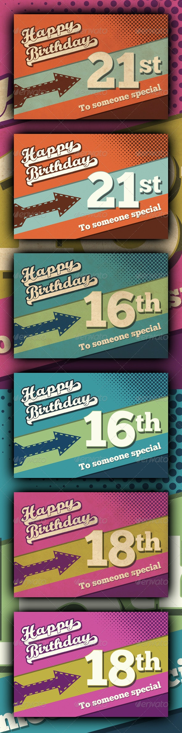 Retro Happy Birthday Card V1 - Birthday Greeting Cards
