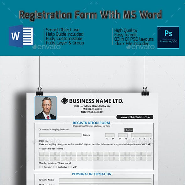 Registration Form With MS Word