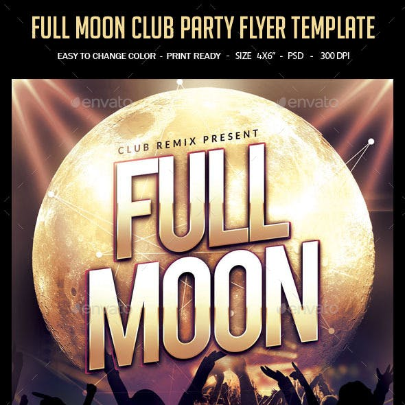 Full Moon Club Party Flyer Template