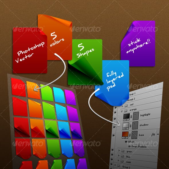 vibrant sticky notes