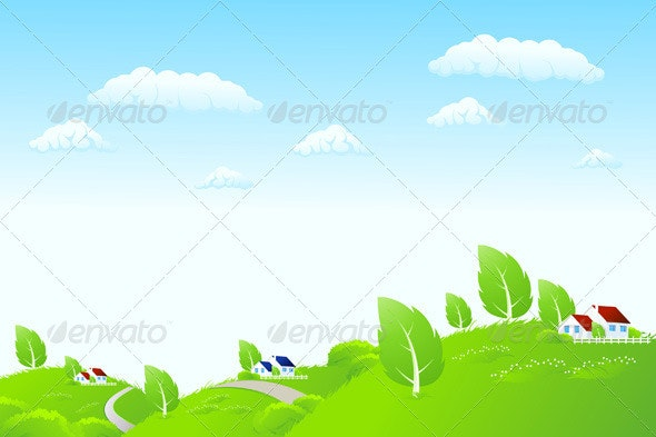 Nature Landscape with Houses - Landscapes Nature