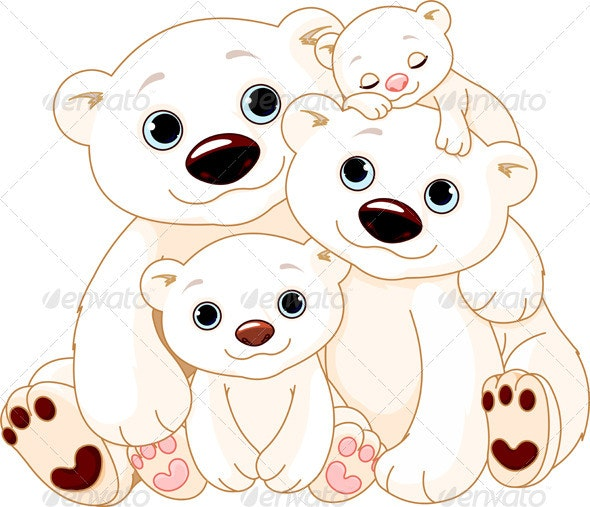 Big Polar bear family - Animals Characters