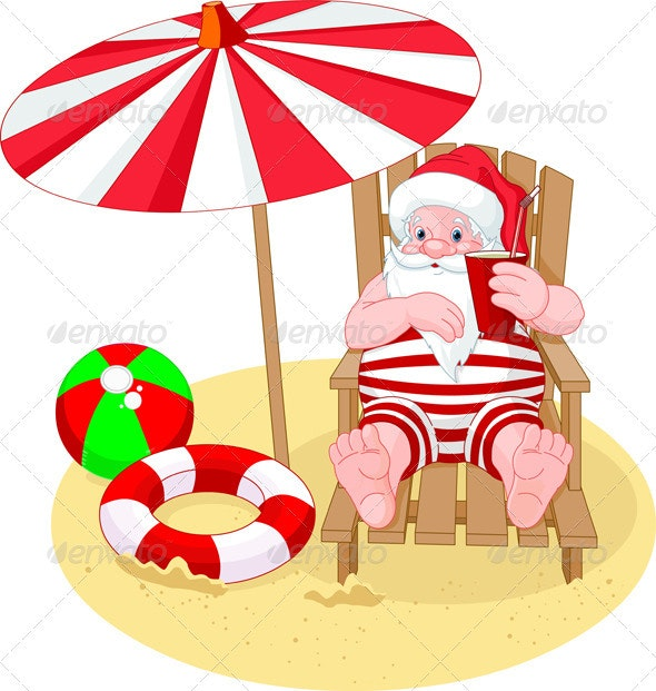 Santa Claus relaxing on the beach - Christmas Seasons/Holidays