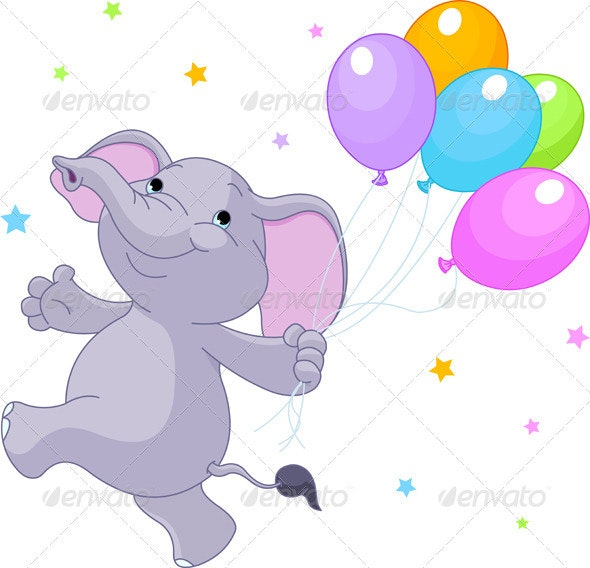 Elephant with balloons - Animals Characters