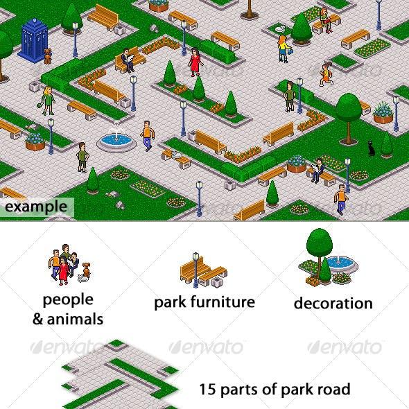 Pixel art park set