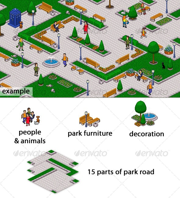 Pixel art park set - Scenes Illustrations