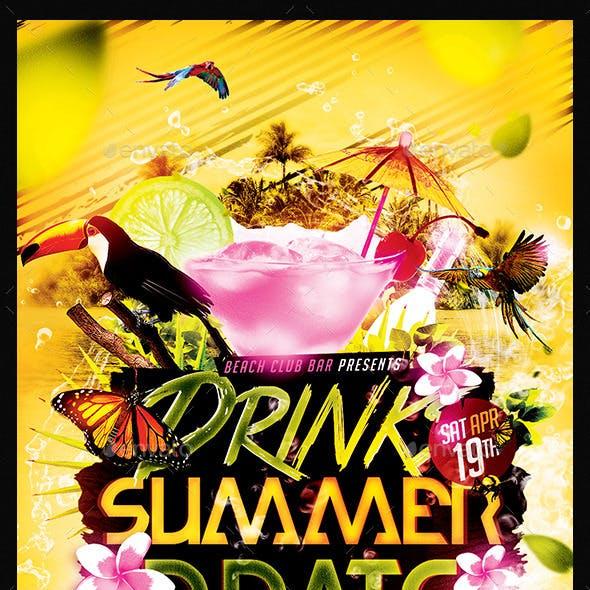 Drinks Summer Beats   Flyer Template PSD