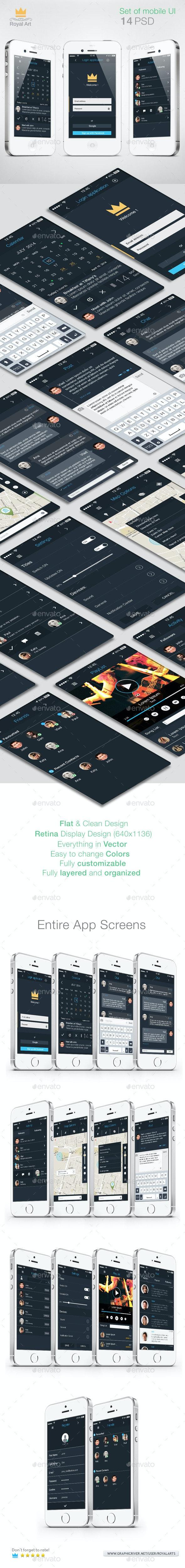 Mobile UI KIT Flat - User Interfaces Web Elements
