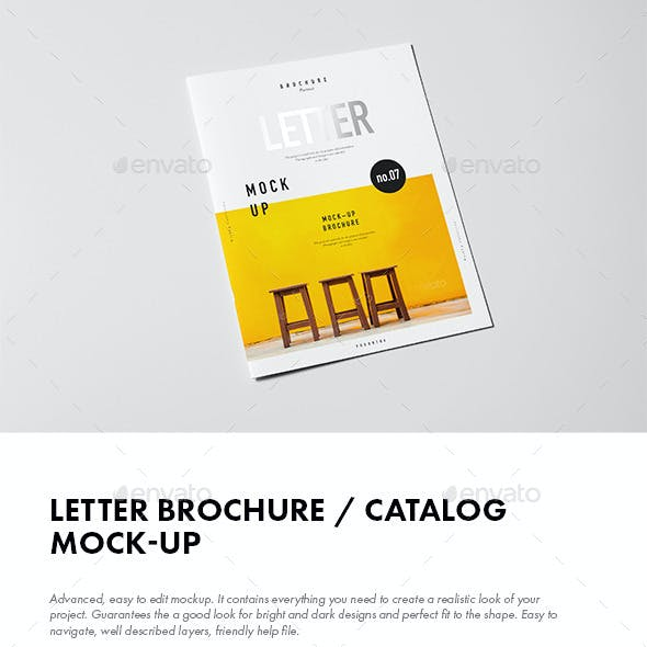 Letter Brochure / Catalog / Booklet Mock-up