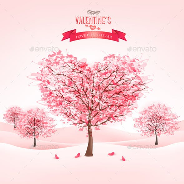 Pink Heart-Shaped Sakura Trees for Valentines Day