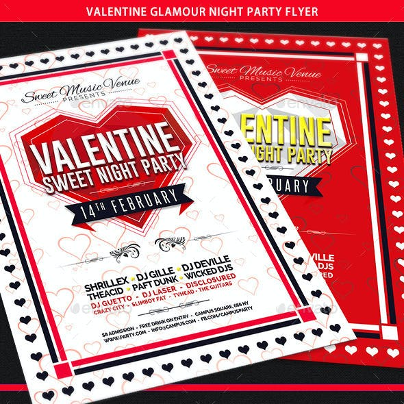 Valentine Glamour Nights Party Flyer