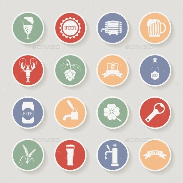 Round Beer Icons Set - Food Objects
