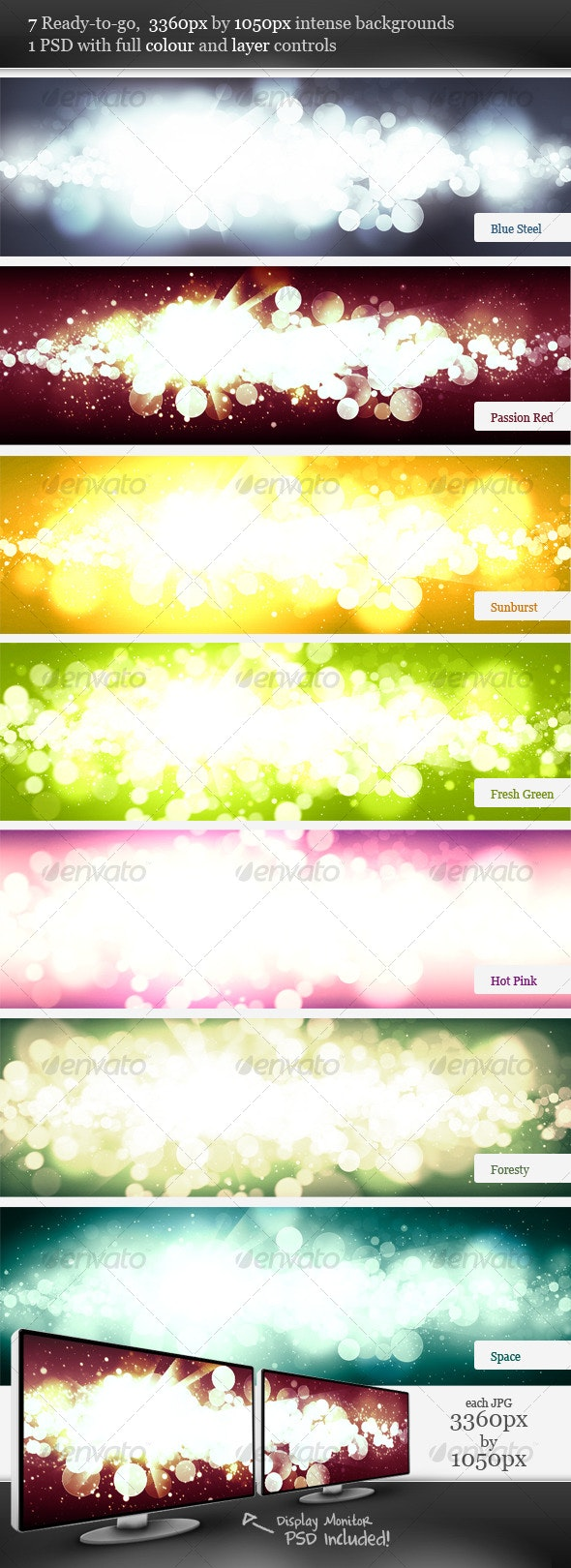 Intense Flare Burst Backgrounds - Abstract Backgrounds