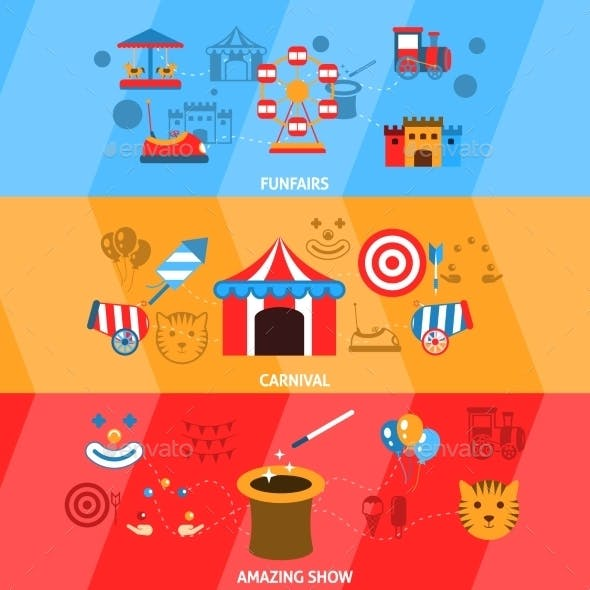 Amusement Park Banner Set