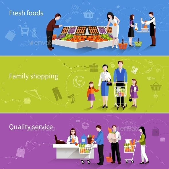 Supermarket People Banners - Retail Commercial / Shopping
