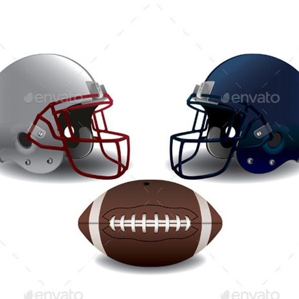 American Football Helmets and Ball Isolated
