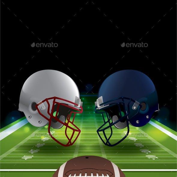 Vector American Football Helmets Clashing
