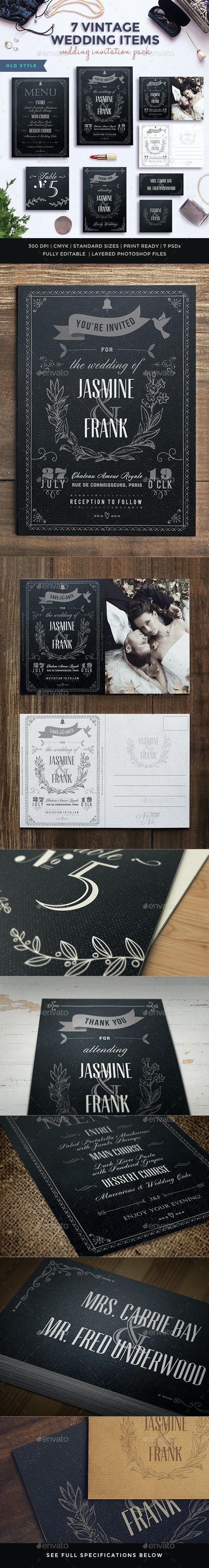 7 Vintage Items - Wedding Pack - Weddings Cards & Invites