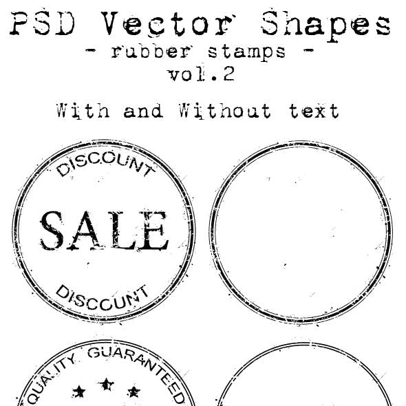 PSD Vector Shapes - rubber stamps - Vol 2.