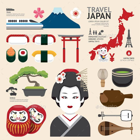 Infographic Japan Travel Design.