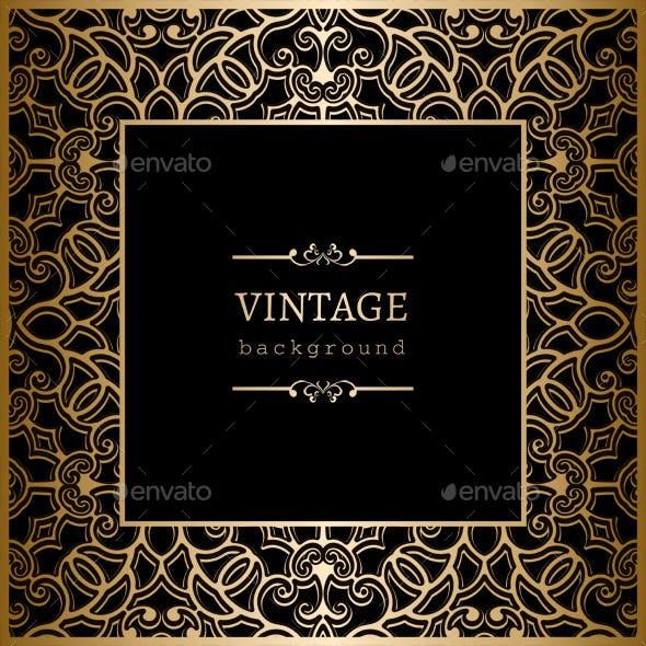 Square Vintage Gold Frame