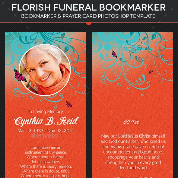 Flourish Funeral Bookmarker Template