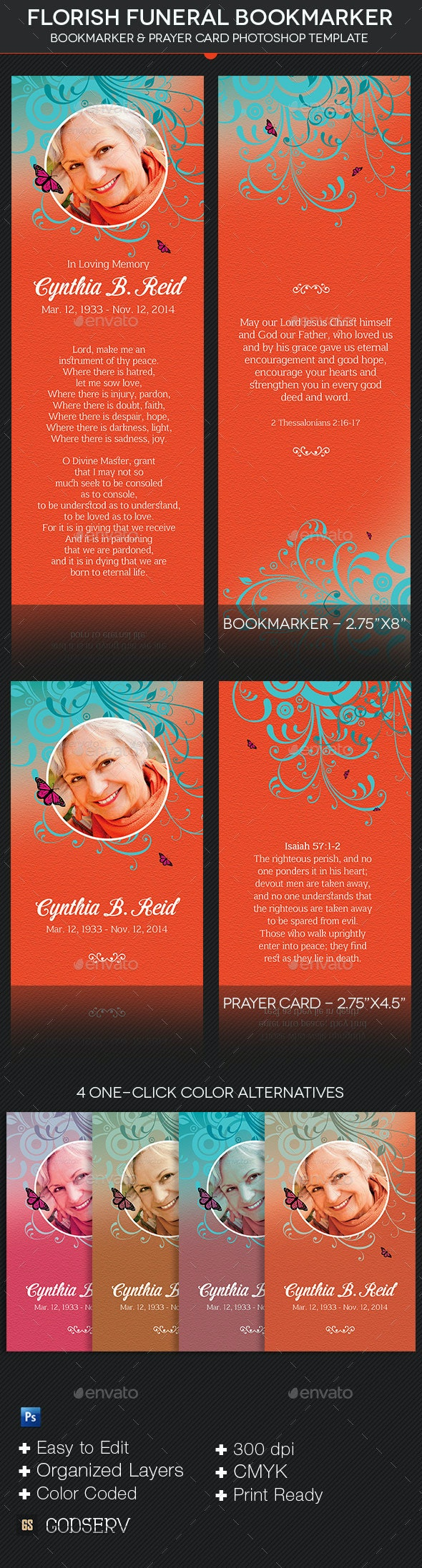 Flourish Funeral Bookmarker Template - Stationery Print Templates