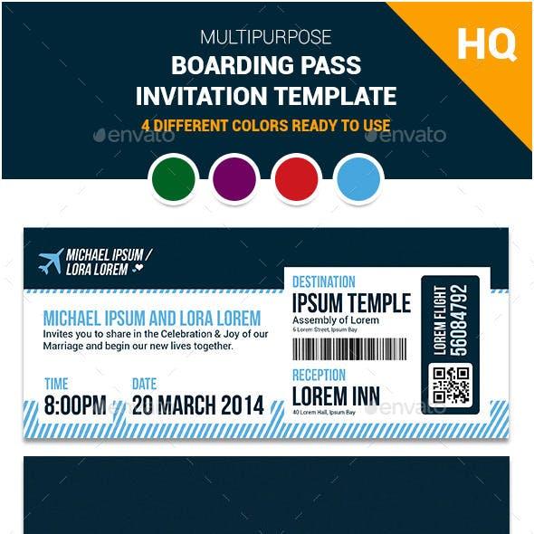 Multipurpose Boarding Pass Invitation Template