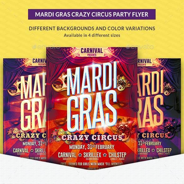 Mardi Gras Crazy Circus Party Flyer