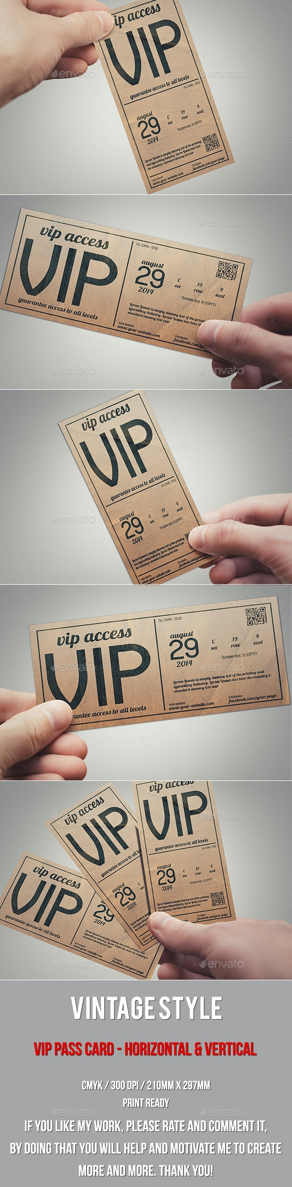 Vintage Style Vip Pass Card - Cards & Invites Print Templates