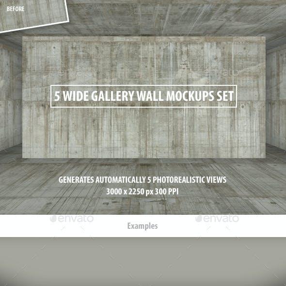 5 Wide Gallery Wall Mockups Set