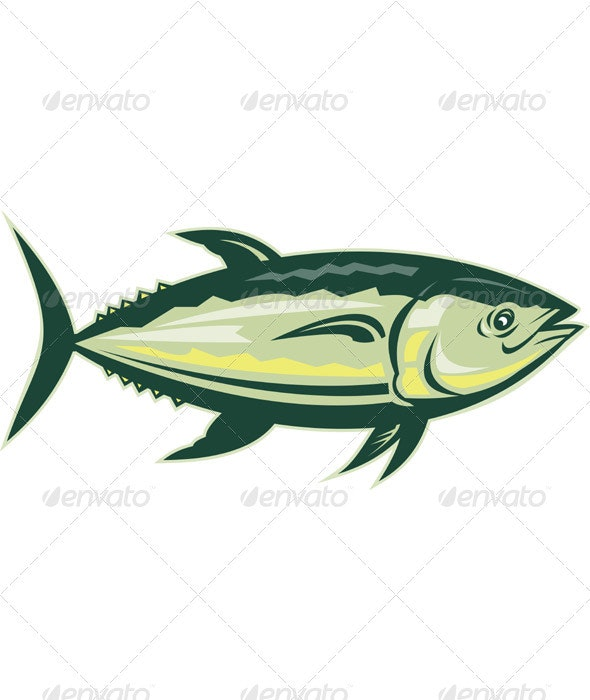 Yellow Fin Tuna Side View Retro Style - Animals Characters