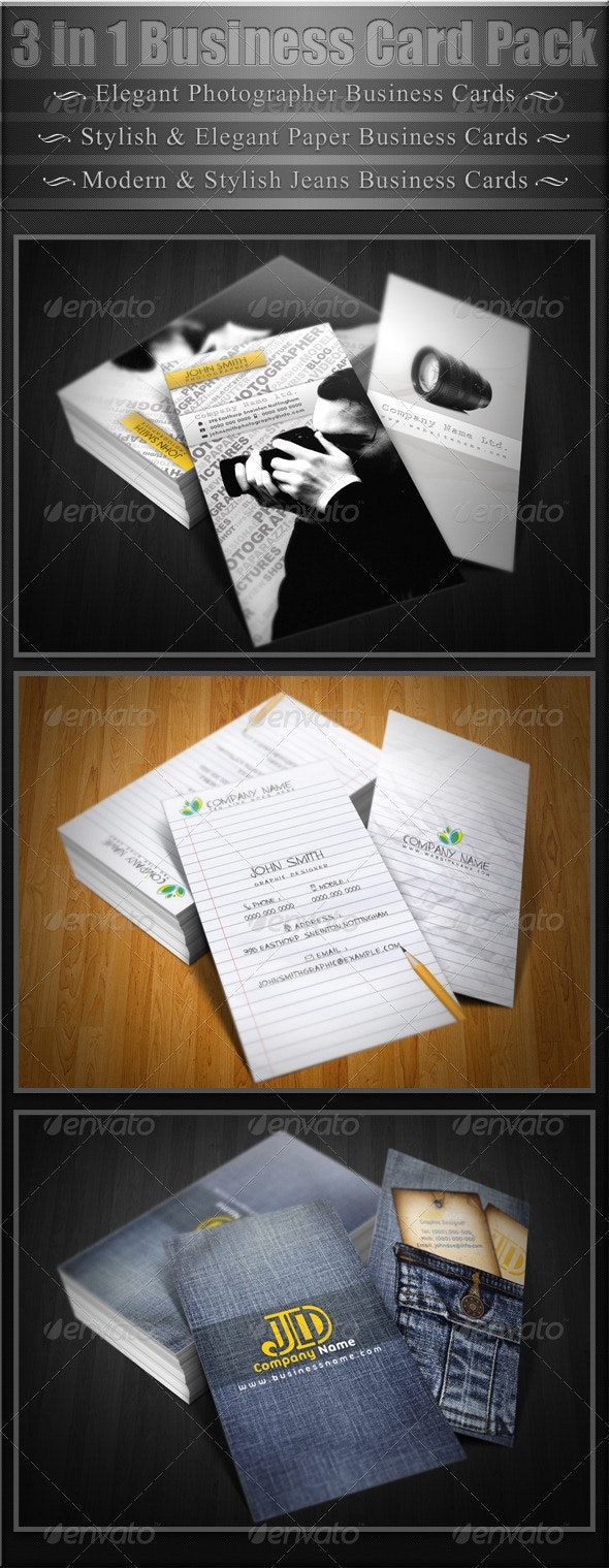 3 in 1 Business Cards Pack - Creative Business Cards