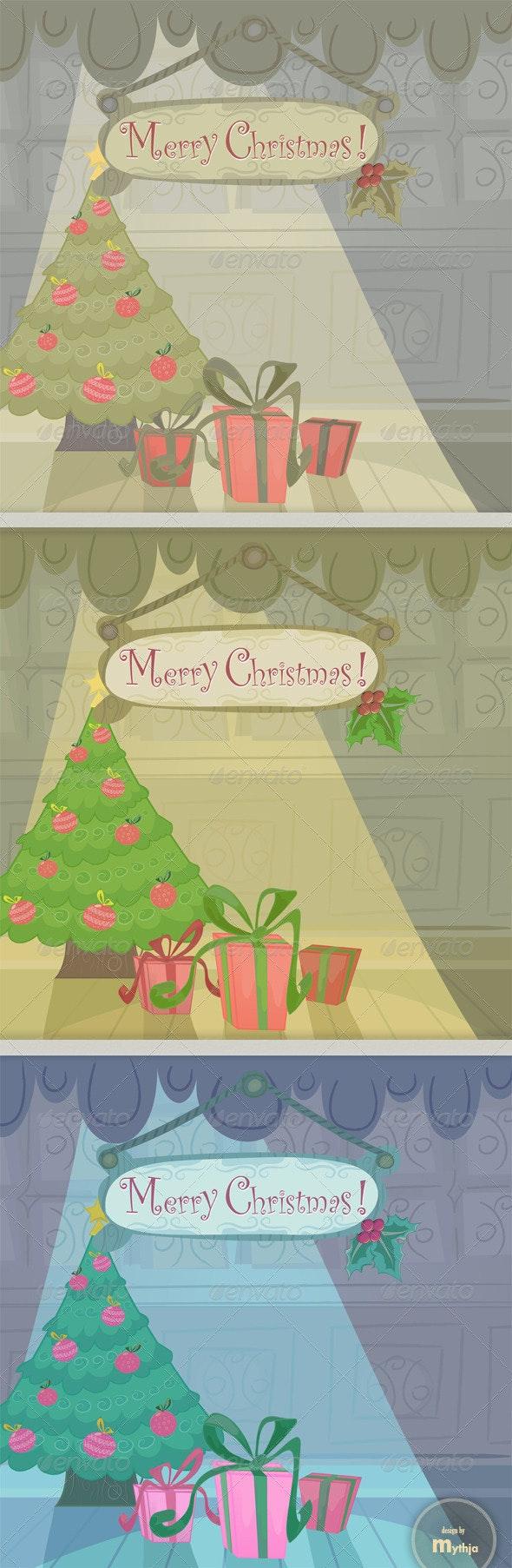 Vector cartoon Christmas cards - Christmas Seasons/Holidays