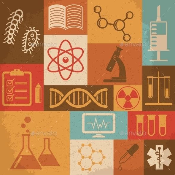 Retro Science Icons - Health/Medicine Conceptual