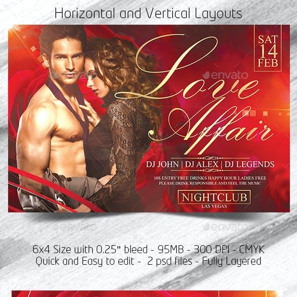 Love Affair Valentines Day Flyer